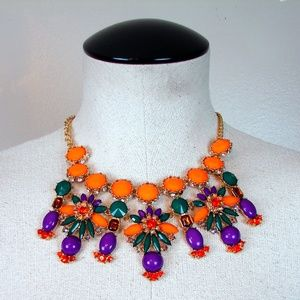Boho clunky statement necklace earring set NEW